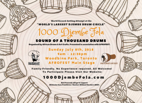 1000 Djembe Fola Drum Circle World Record AFROFEST African Drums and Art Crafts Saikou Saho Toronto Canada Shop